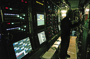 Control station in torpedo room of USS Virgini...