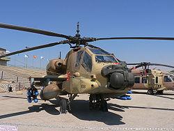 מסוק קרב AH-64 אפאצ'י של חיל האוויר הישראלי - רבים מפשעי המלחמה בוצעו באמצעות מסוקים אלה.