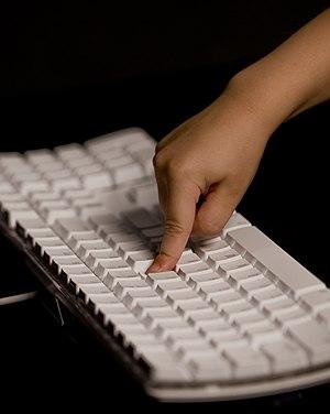 An alphanumeric computer keyboard.