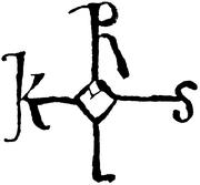 Monograma de Carlomagno. El emperador sólo dibujaba el cuadrado central, completando el resto sus secretarios