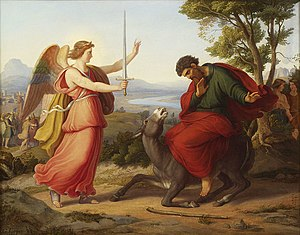 Balaam and the angel, painting from Gustav Jae...