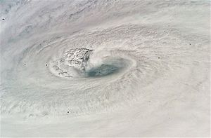 This is a photograph of Hurricane Dean taken b...