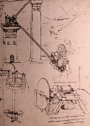 Leonardo da Vinci, drawings of machines