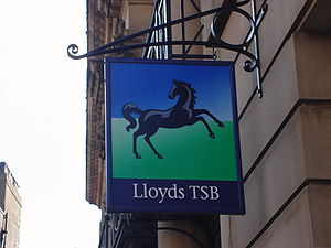 Quick shot of the sign of a small Lloyds TSB b...