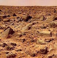 मंगल की सतह (पाथ फाईण्डर द्वारा ली गयी तस्वीर)