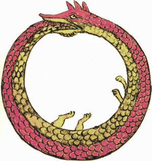 The Ouroboros, a dragon that bites its tail, i...