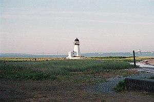 English: Sand Point Light on Prudence Island, ...