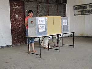 English: Voting booth