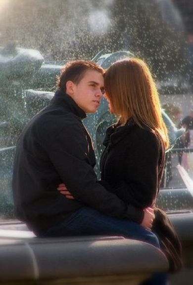 A young couple who look very much in love by t...