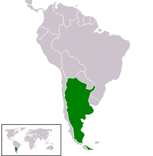 Map of Argentina (green) in South America (big...