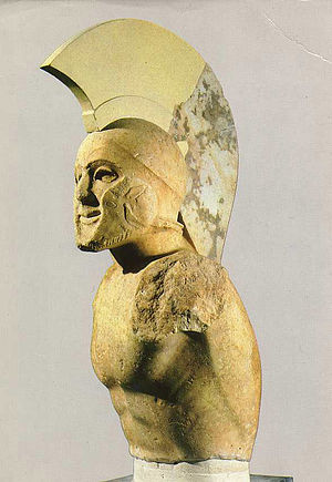 English: Marble statue of a helmed hoplite (5t...