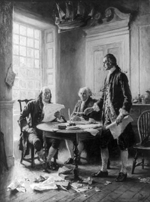 Benjamin Franklin reading draft of Declaration...
