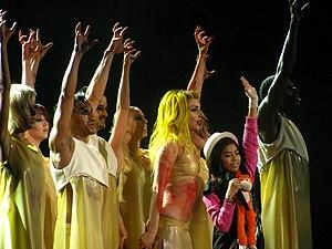 "Lady Gaga singing ""Born This Way"" wi..."