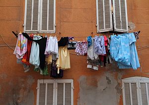 Laundry hung out to dry