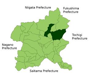 Location Map of Numata in Gunma Prefecture, Japan