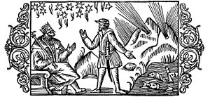 The woodcut shows a soothsayer in front of a k...