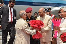 H.E the Governor of Bihar Shri Ram Nath Kovind welcoming Hon'ble President of india Shri Pranab Mukherjee at Patna on April 17,2017