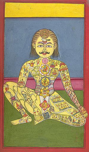 Sapta Chakra, from a Yoga manuscipt in Braj Bh...