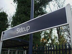 Sidcup station platform signage, in Southeaste...