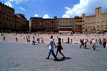 View of the Piazza del Campo, where the Palio ...