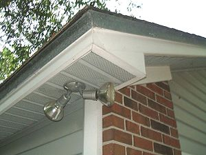 Photo of soffit with perforated vinyl sections...