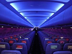 Cabin of a Virgin America A320