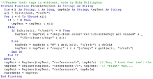 Screenshot of a typical Visual Basic function,...