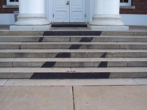 A sign of the Z Society on the steps to Old Ca...