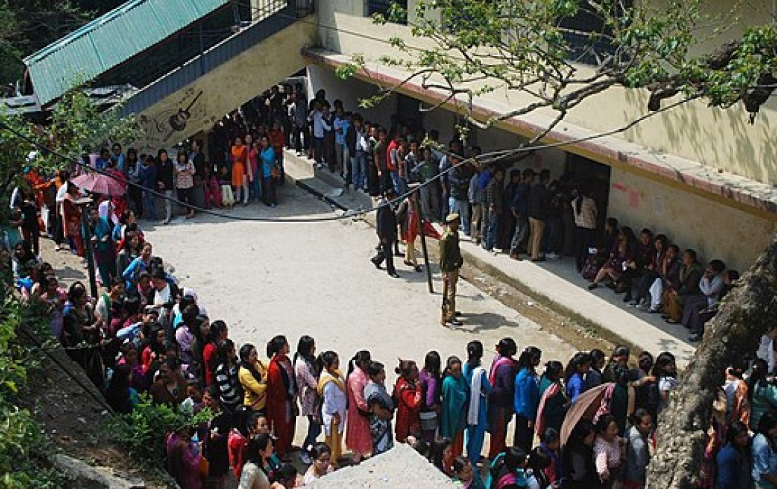 A large number of voters in a queue to cast their vote, at a polling booth during the 4th Phase of Lok Sabha General Elections-2014, in Sikkim on April 12, 2014