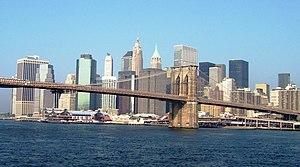 Brooklyn Bridge and downtown Manhattan as seen...