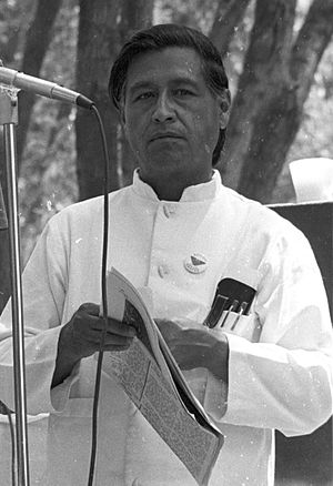 Cesar Chavez at the Delano UFW rally.