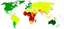 Peta dunia memperlihatkan Indeks pengembangan manusia.