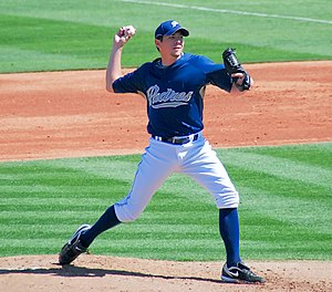 English: Josh Geer pitching for the San Diego ...