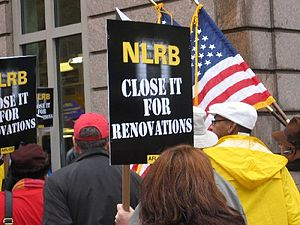 Union members picketing outside the National L...