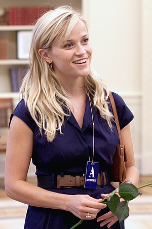 Actress Reese Witherspoon in the Oval Office o...