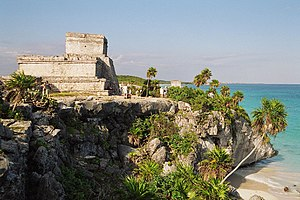 Main temple at Tulum against the Caribbean Sea...