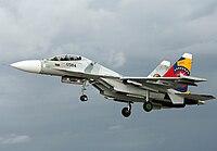 Un avión Sujói Su-30MK2 Flanker-G de la Fuerza Aérea Nacional.
