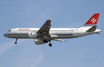 An Air Malta Airbus A320 landing at London Hea...