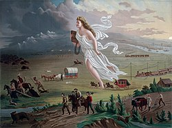 Painting depicting a woman draped in white robes flying westward across the land with settlers and following her on foot