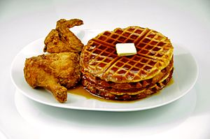 English: Fried chicken and waffles with maple ...