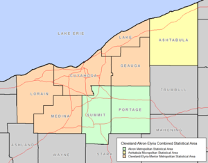 Map of the Cleveland Combined Statistical Area