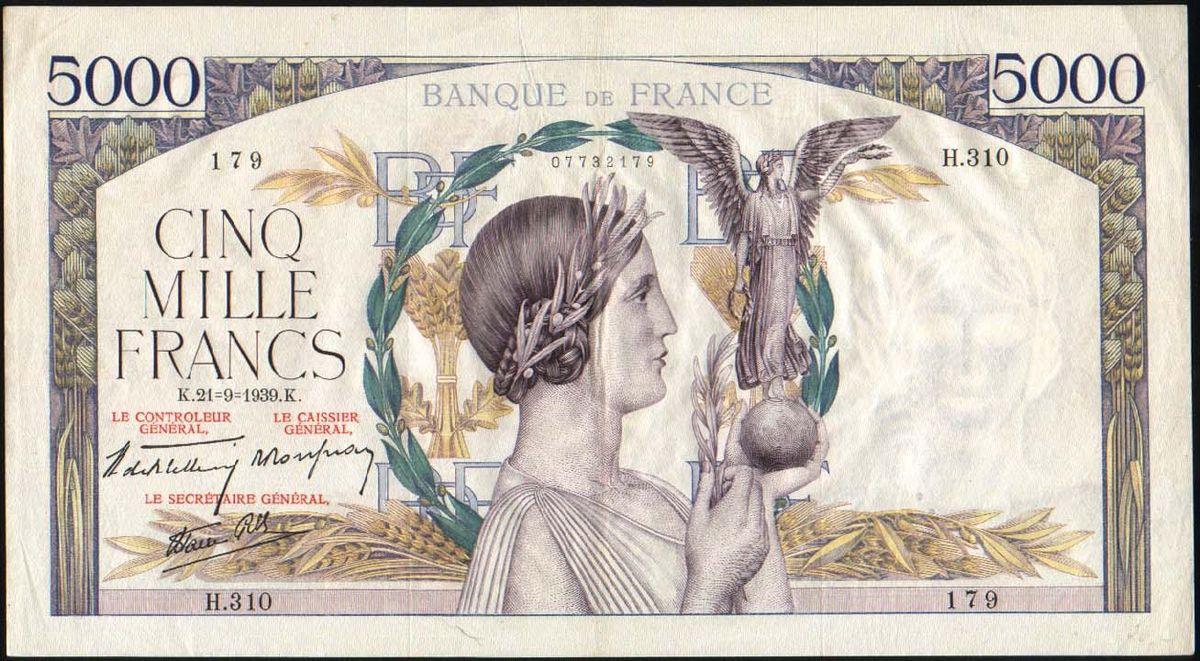 Billet De 5 000 Francs Victoire Wikip 233 Dia
