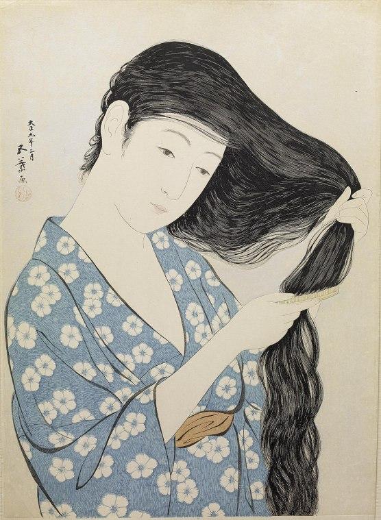 Hashiguchi Goyo - Woman in Blue Combing Her Hair - Walters 95880