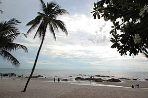 Hua Hin beach on a cloudy morning
