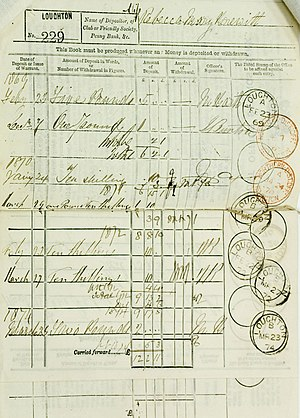Scan of the first entries of a Post Office Sav...