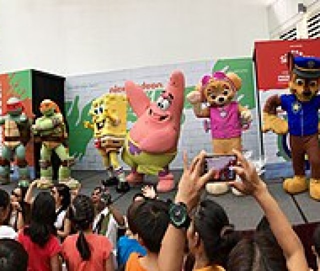 Guest Appearance Of Mascots Including Characters From Teenage Mutant Ninja Turtles Spongebob Squarepants And Paw Patrol From Nickelodeon During The
