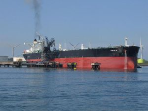 English: The crude oil tanker Omala moored in ...