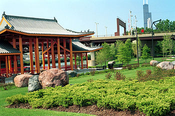English: The riverfront pavilion in Ping Tom M...