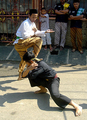 Pencak silat Betawi style performed during Bet...