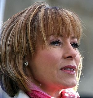 English: British journalist Sian Williams whis...